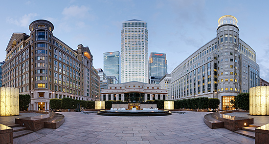 Cabot Square in England's Canary Wharf